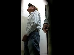 Mature men in public toilet