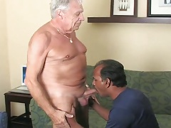 Indian dad sucking big older cock