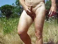Grandpa masturbate outdoor