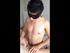 A masked twink fucked by two daddies