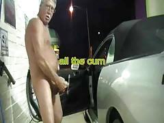 Exhibitionist grandpa jerk at carwash