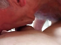 Horny old cocksucker cum and eat