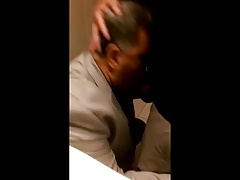 Suited dad blows in public toilet