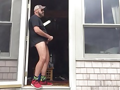 Daddy gets a knock on the door while jacking