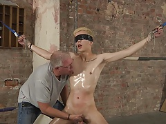 BDSM blond boy tied, enjoyed whipped and jerked to cum
