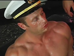 Huge load in face for the captain