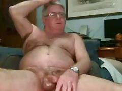 sexy grandpa stroke and cum on cam