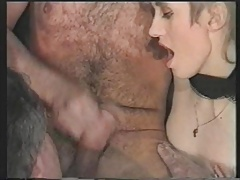 3 bisexual grandpa and a woman have hot sex