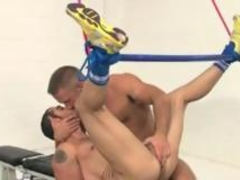 Hairy mean daddy Dirk Caber sucking and fucking a helpless hairy bondage guys Dean Monroe.
