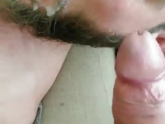 Bearded guy loves cum in his mouth