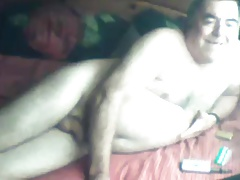 grandpa stroke and cum in bed