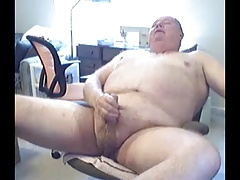 grandpa long stroke and cum on cam