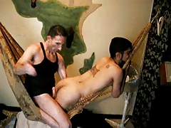Rough white daddy drills papi mouth and ass bareback