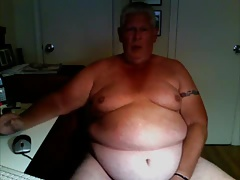 chubby grandpa stroke and cum on cam