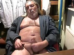 Long Hiar Dad Cums