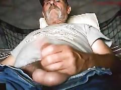 Older gentleman shooting his load