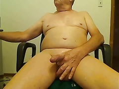 Senior stroke and cum
