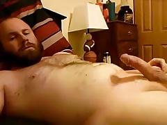 Bearded bear stroking on bed