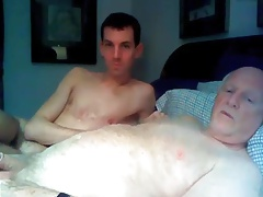 grandpa and young boy have fun on cam