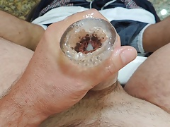 Masturbating and cumshot on the toilet
