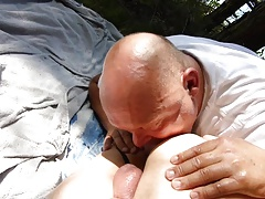Outdoor Rimjob Blowjob from behind - Cruising at the Lake