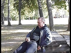 Older swedish man wanking in a public park