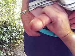 A quick rub of a 75 year old mans cock