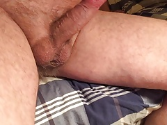Wanking my hard cock and some precum