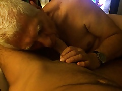 Gay grandpa sucking cock