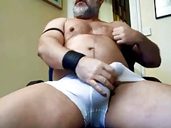 Master leather wanking his big cock
