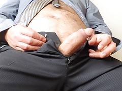 Mature Hairy Wanking & Cumshot at Work