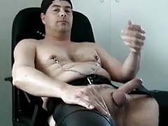 Daddy loves wanking in leather