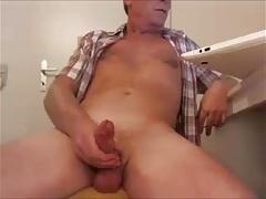 Straight mature man jerking his big cock