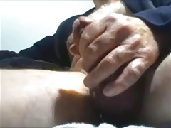 Mature guy unloads his cock