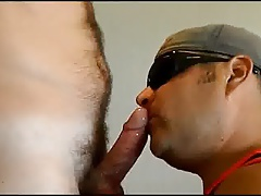 Ejecting lots of cum in dads mouth