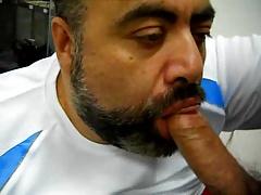 Daddy bear sucking cock