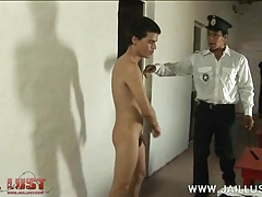 Cute young convict stripped naked by an old freak