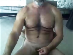 Hairy bear wanking