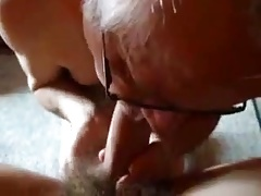 Sexy grandpa sucking a cock