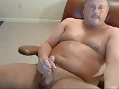 Stocky daddy stroking good