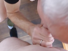 Ass to mouth and breeding an old man Bareback
