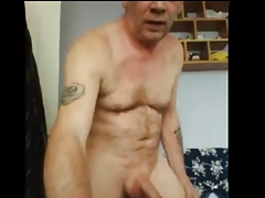 Gay dad eat his own cum
