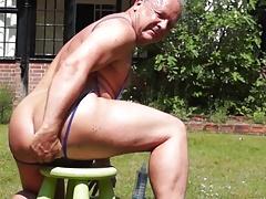 Thong and dildo in the garden