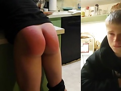 Hot teen with fantastic ass spanked by teacher