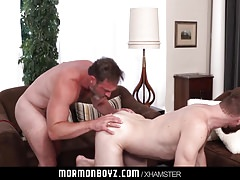 MormonBoyz - Muscle daddy priest breeds younger bishops hole