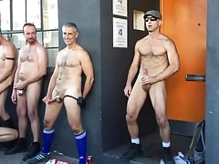 jerking off and cumming in Public
