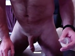 hairy dad shoots his load