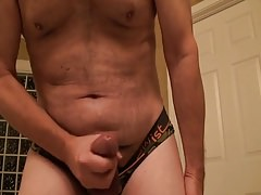 Jerking off talking dirty--cum at the camera