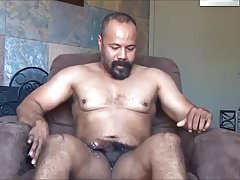 Latin Muscle Daddy Jerk Off & Cum in Chair