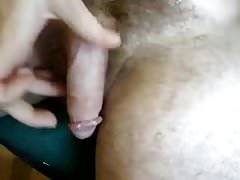 Danrun rips white thick load on his hairy stomach